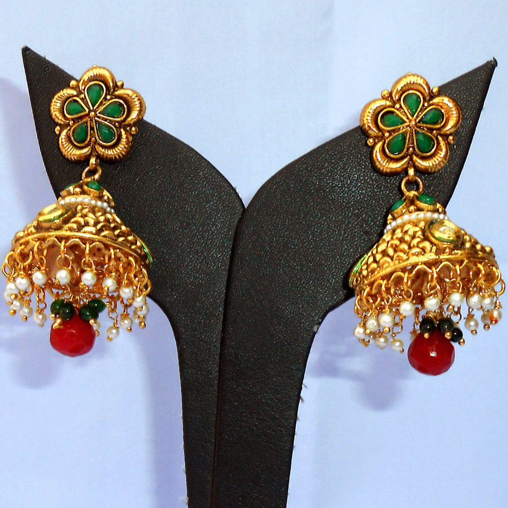 Red & green crafted jhumki earrings