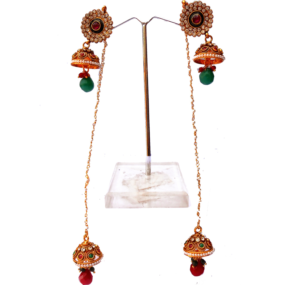 Red & green hanging jhumka earrings