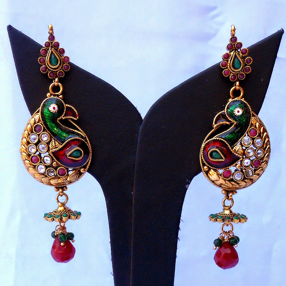 Red & green peacock earrings