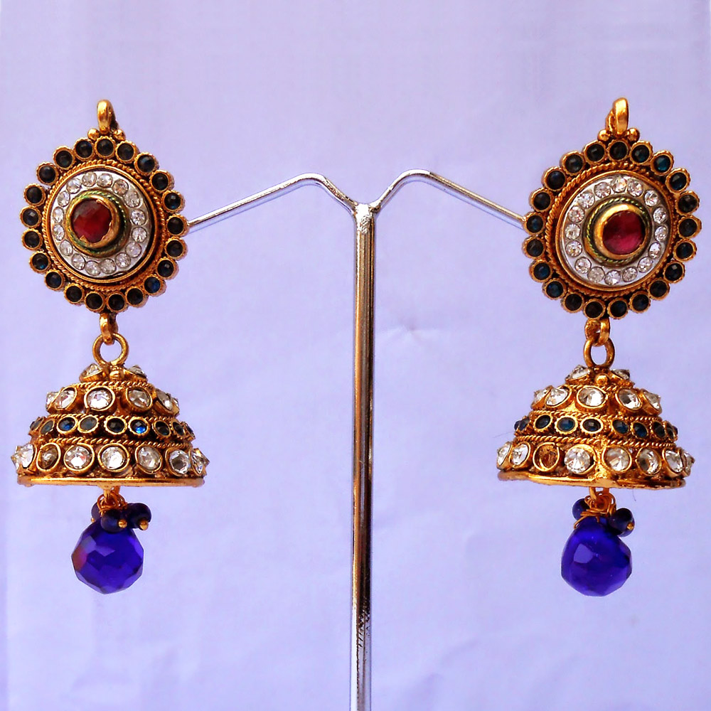 Red & green stone embedded stylish jhumki earrings