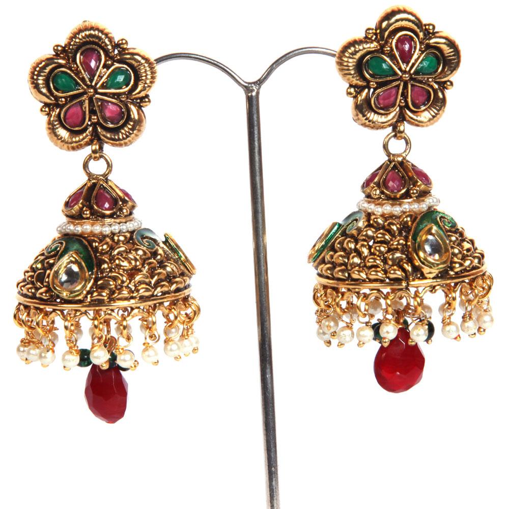 Red & green gem studded earrings