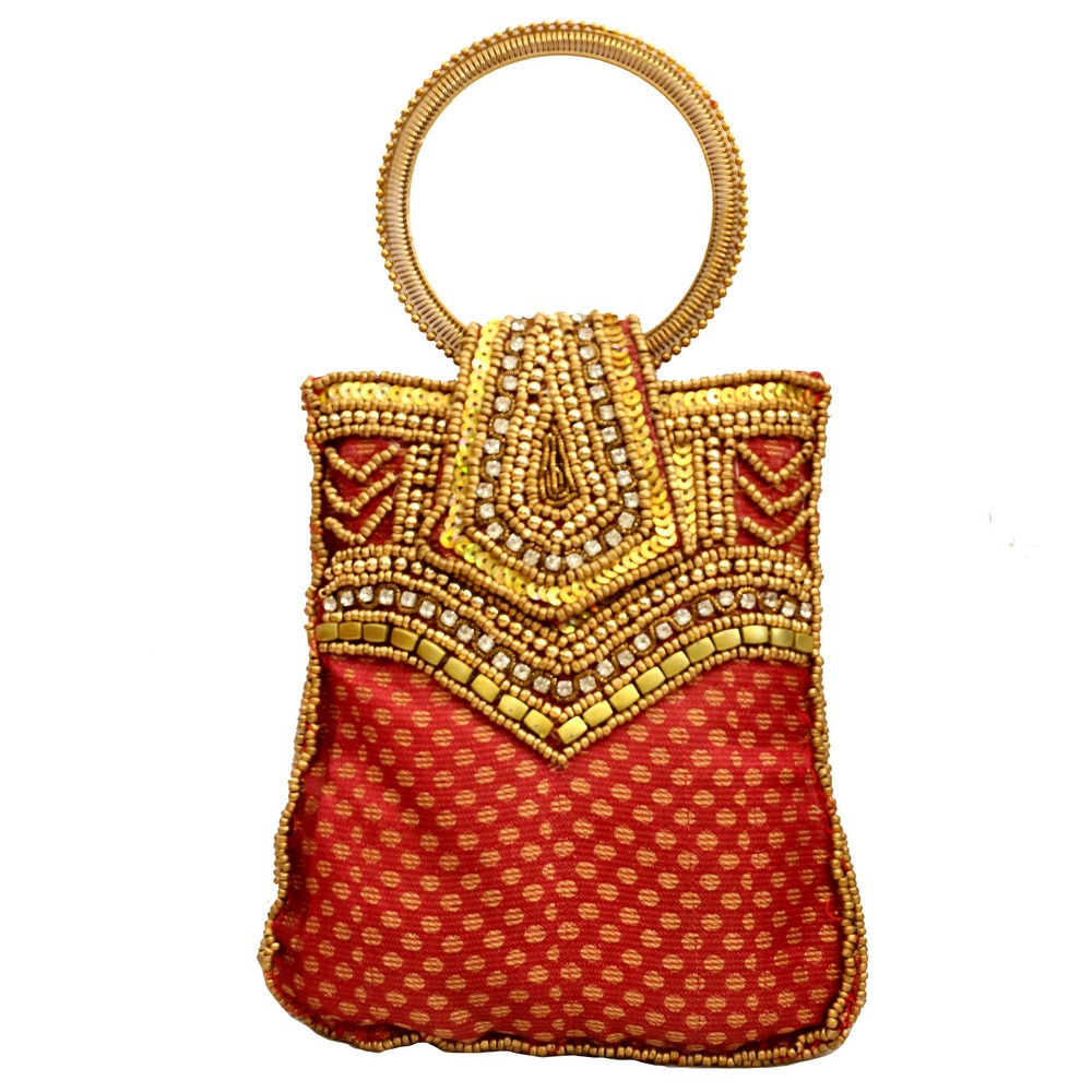 Red Traditional Pouch Bag With Golden Sequence Work and Handle