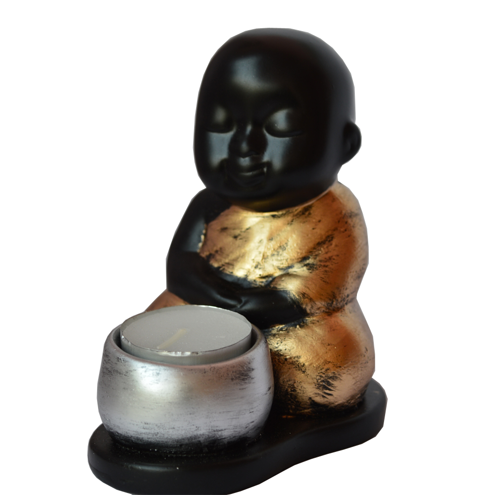 Resin Sitting Buddha With Tlite Candle