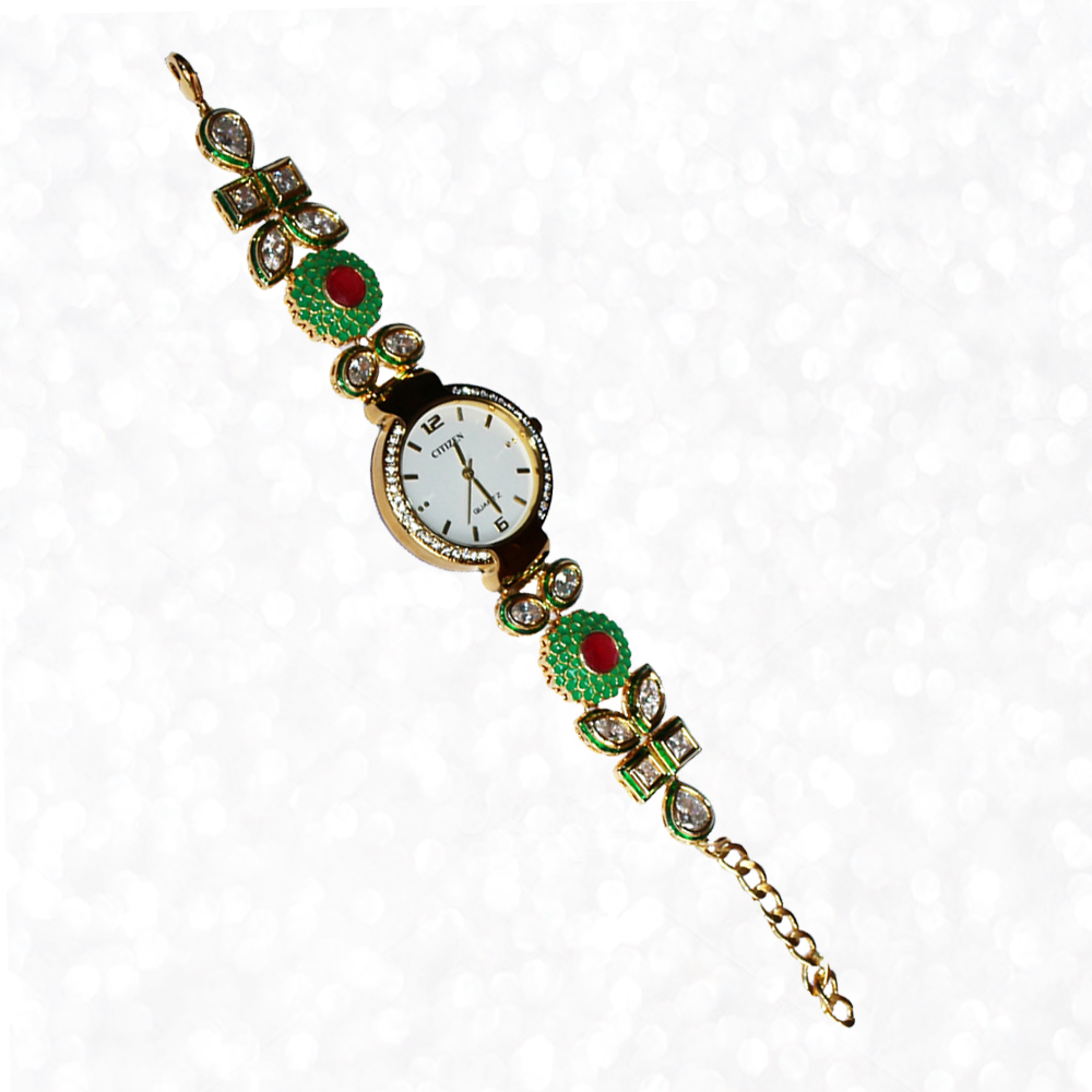 Round Shaped Dialer Wrist Watch with CZ Stones and Kundan Work