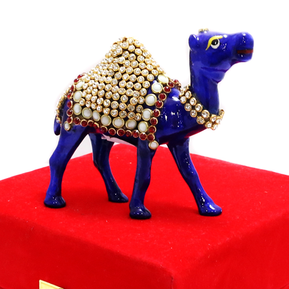 Royal Blue Camel Showpiece With Intricate Detail Work