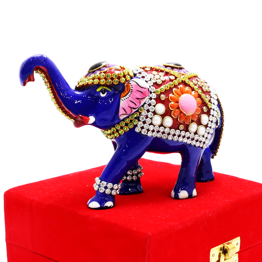 Royal Blue Elephant In Standing Posture With Stone Work