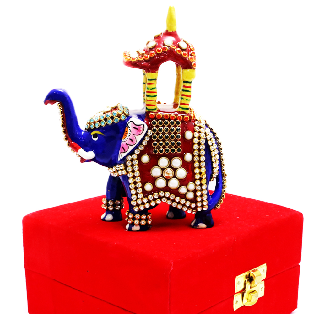 Royal blue elephant with designer temple