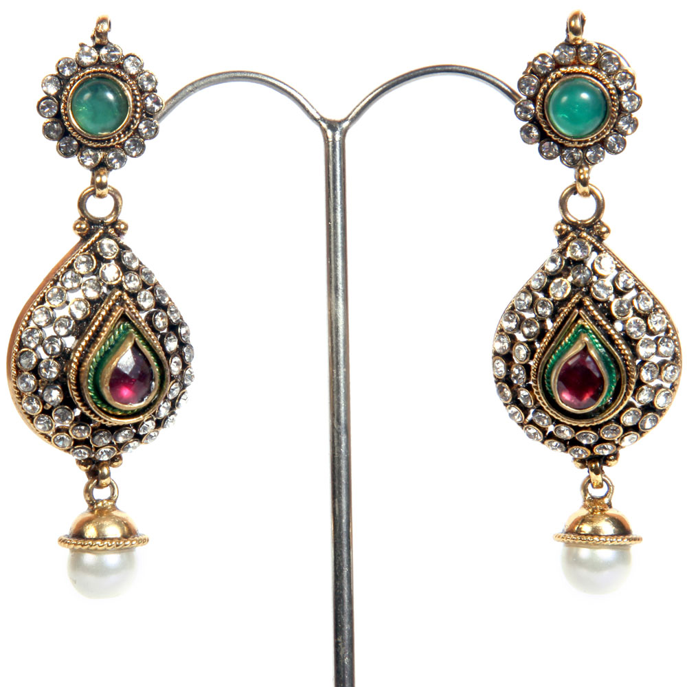 Royal coloured beads engraved earrings