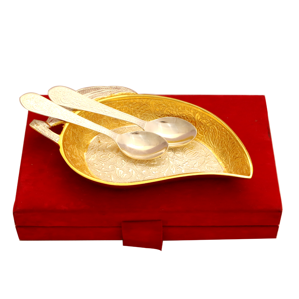 German silver mango shaped serving tray set