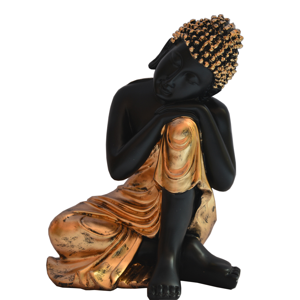 Shiny Black Dhyan Pose Buddha Statue In Fiber