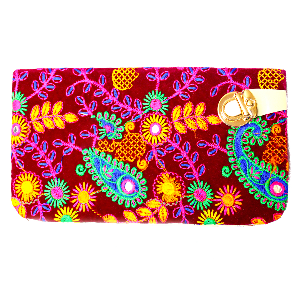 Shocking Pink Coloured Handcrafted Clutch Bag With Detailed Embroidery