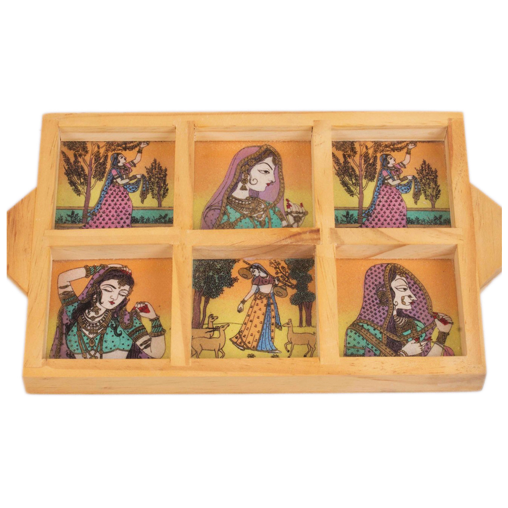Six compartment Gemstone Painted Wooden Trey