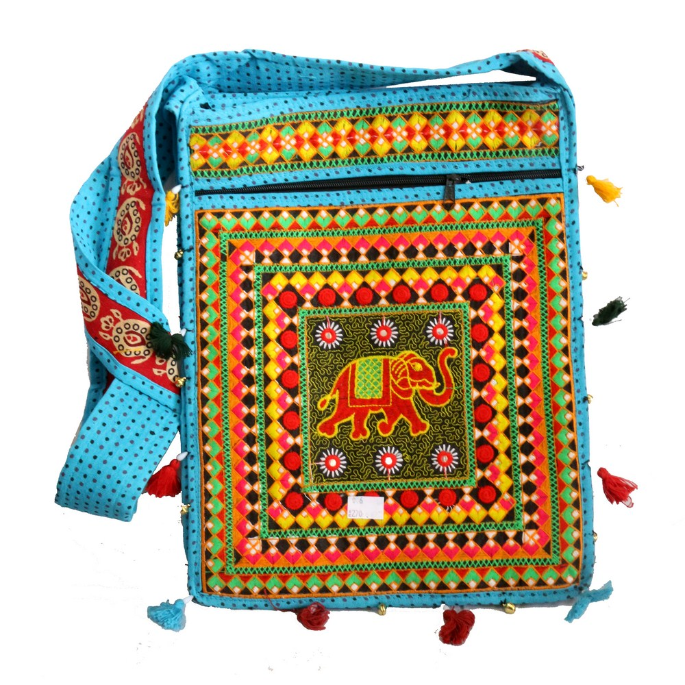 Sky Coloured Long Handle Rectangular Bag With Colourful Designs