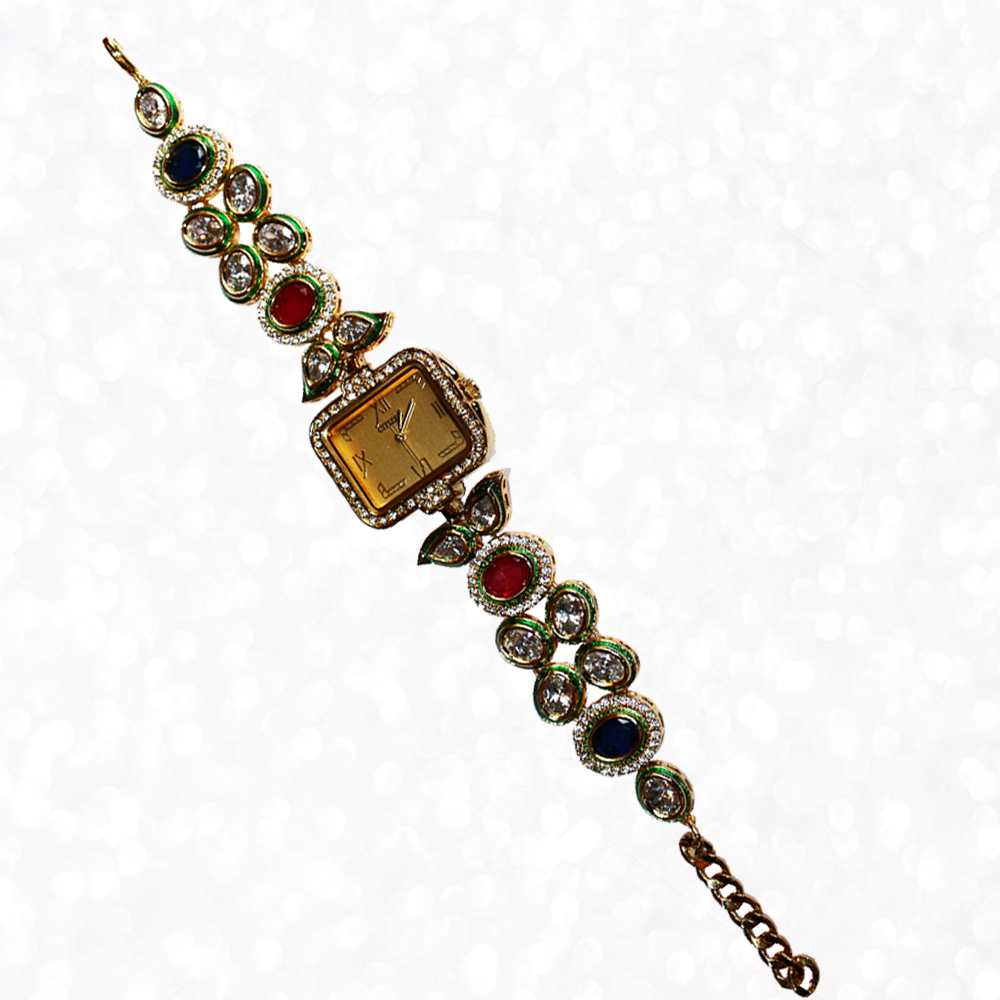 Square Shaped Kundan Work Wrist Watch with Stones and Kundan work