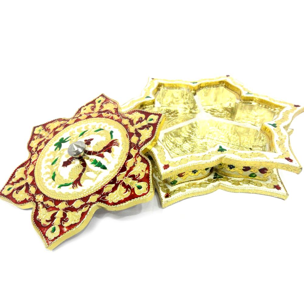 Star Shaped Marble Meenakari Crafted Dry Fruit Gift Box