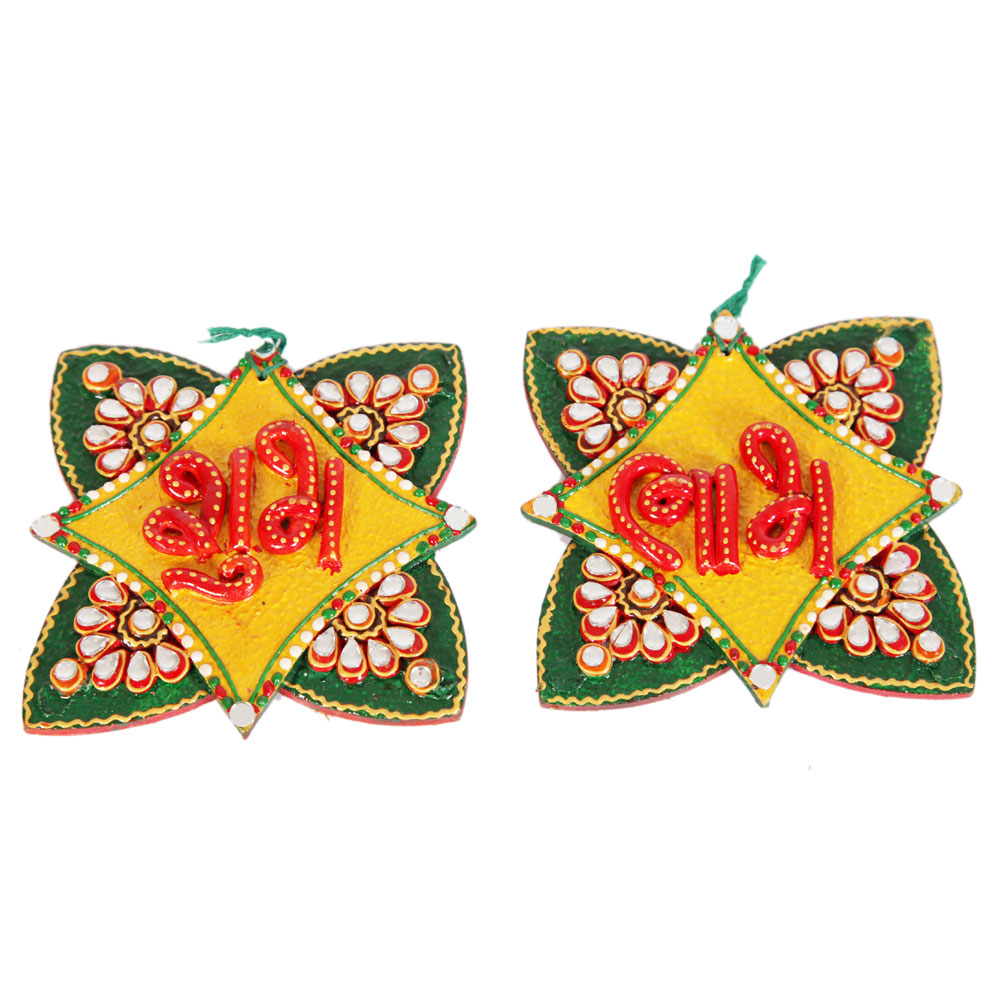 Kundan Craft Star Shaped Shubh Labh Door Toran For Diwali