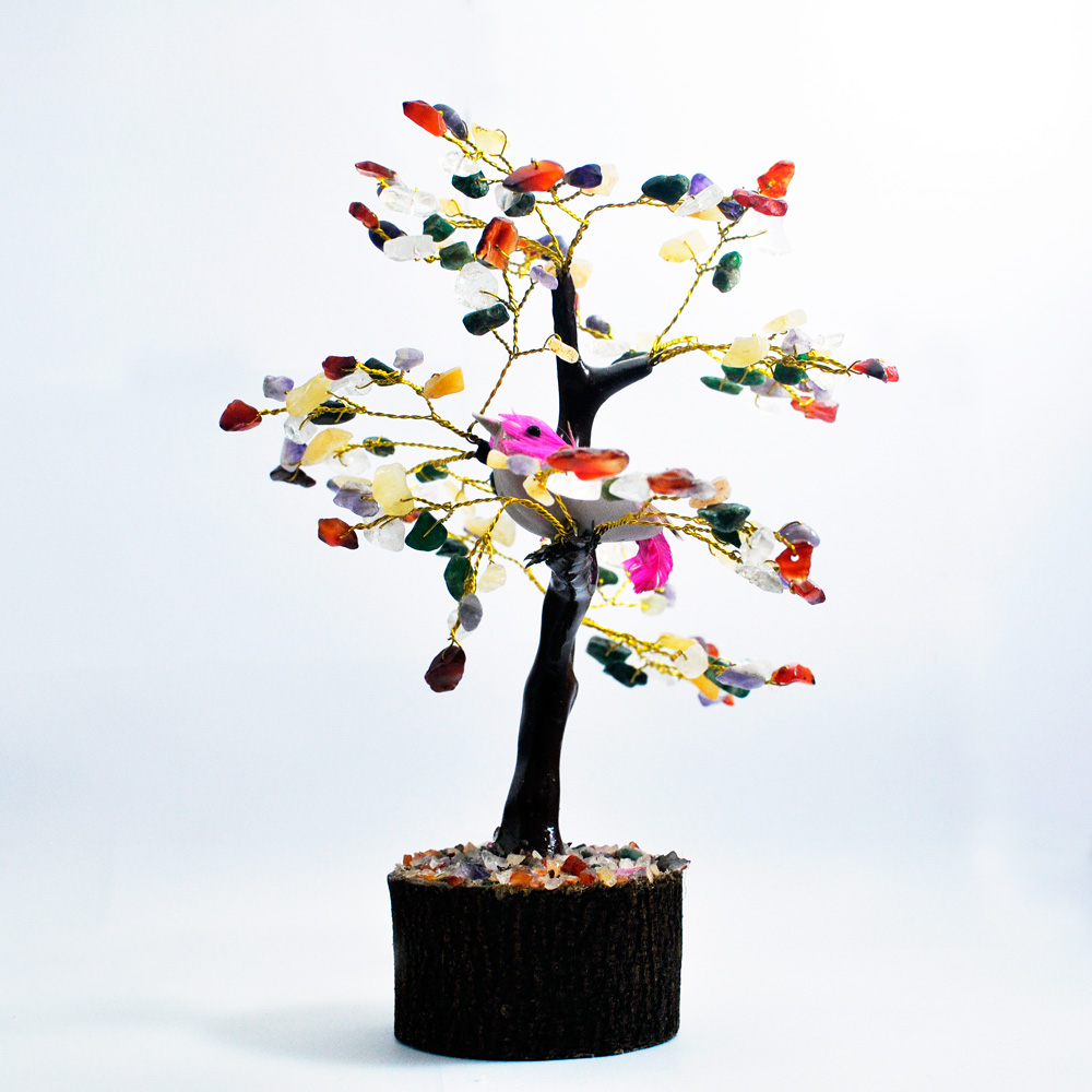 Stone Tree Made Of Wooden And Multicoloured Gemstone