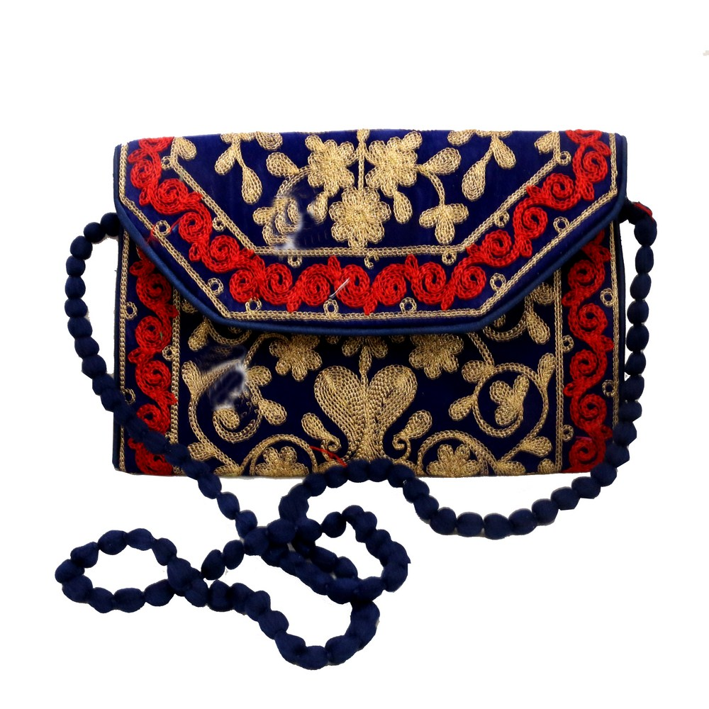 Suzani Hanging Clutch Bag With Designer Sling in Red & Blue Combination