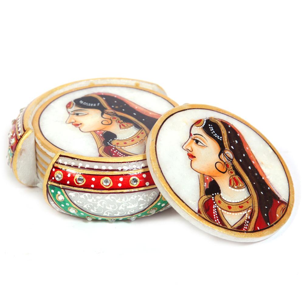 Tea coaster with rajpooti lady figure