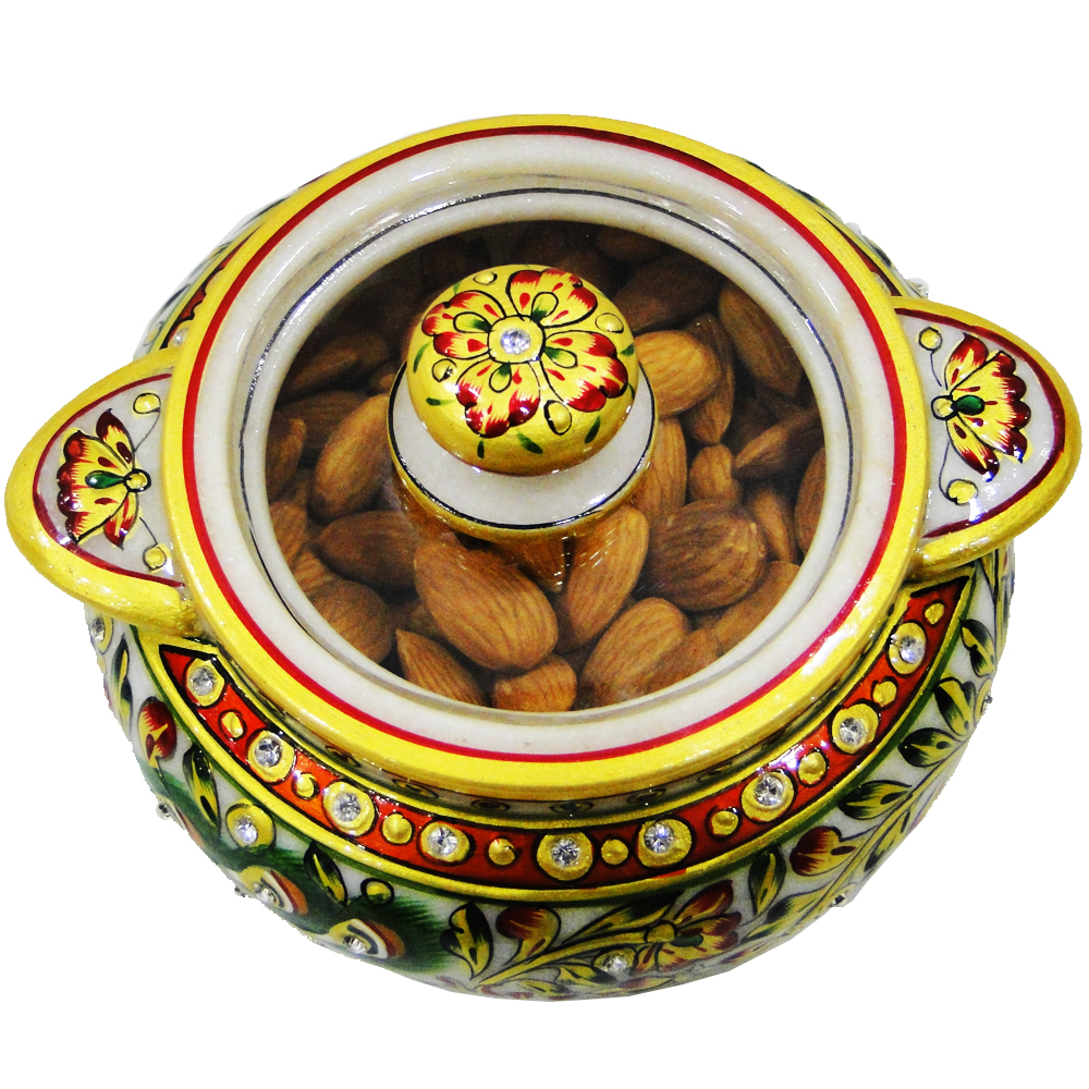Beauteous Marble Meenakari Crafted Dry Fruit Box Online