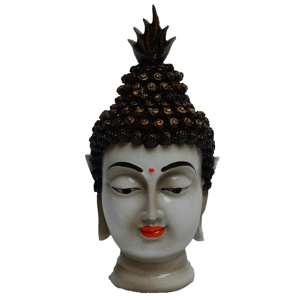 Poly resin meditating Buddha head