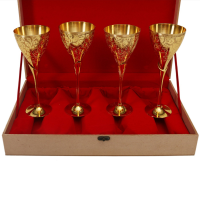 24 Ct Gold Plated Pk Quadra Wine Glass
