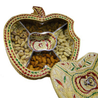 Apple shaped gift box with wooden base and meena workMeena work brass covered apple shape gift box
