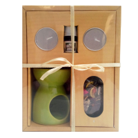 Aroma oil, burner with 2 wax t-lite candle & floral petals