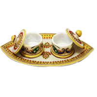 Attractive marble tray with two dibbi