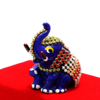 Blue Designer Elephant With Stone And Meenakari Designs