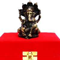Brass Made Ganesh Idol In A Velvet Packing Case