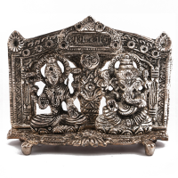 Buy this beautiful metal figure of laxmi and ganesh made from oxidised metal