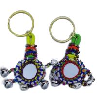 Circular Mirror Design Keychain Pair