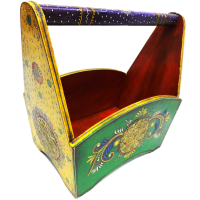 Wooden Hand Crafted Colorful Magazine Holder Online