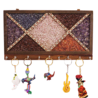 Colourful Gemstone Painted Key Hanger from Rajasthan