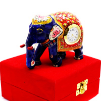 Dark Blue Coloured Metal Built Elephant Showpiece