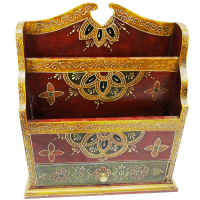 Wooden Handmade Decorative Magazine Holder With Drawer Online