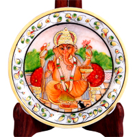 Decorative Marble Plate with Ganesh Figure For Home Decor