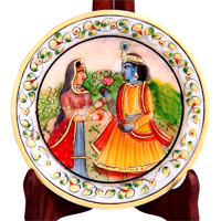 Decorative Marble Plate with Radha Krishna Figure