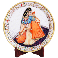 Decorative Marble Plate with Rajasthani Ragini Figure