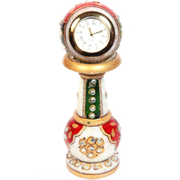 Marble Meenakari Handmade Decorative Items Pillar Watch