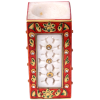 Red Edge & Marble Cutting Meenakari Work Pen Stand Online
