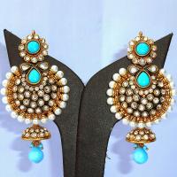 Designer turquoise jhumka earrings