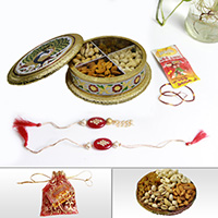 Handcrafted meena box with rakhi & dry fruits