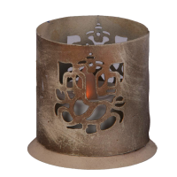 Ethnic candle hanging made of iron with ganesh cut out