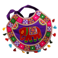 Ethnic Semi-Circular Rajsi Blue Bag With Colourful Designs