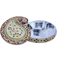 Wooden base gift box with meenakari brass lid