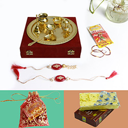 Fabulous Golden Polish Pooja Thali With Rakhi & Sweets