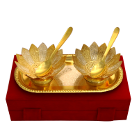 Gold Plated Bowl Set, Spoon & Tray In German Silver Online