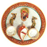Ganesh & Peacock Engraved Marble Meenakari Pooja Thali